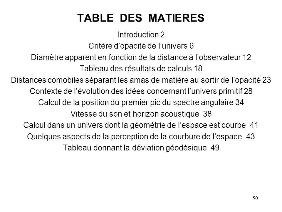 TABLE DES MATIERES Introduction 2 Critère d'opacité de l'univers 6