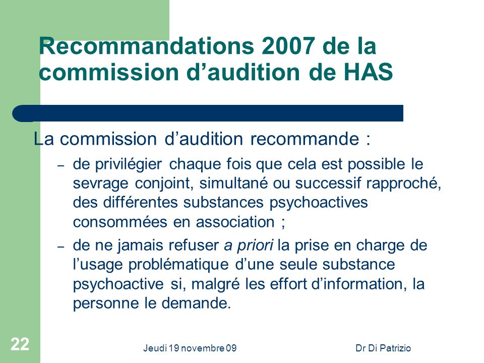Recommandations 2007 de la commission d'audition de HAS