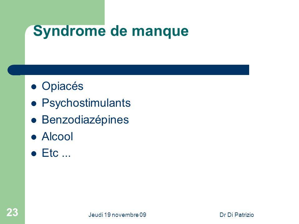 Syndrome de manque Opiacés Psychostimulants Benzodiazépines Alcool