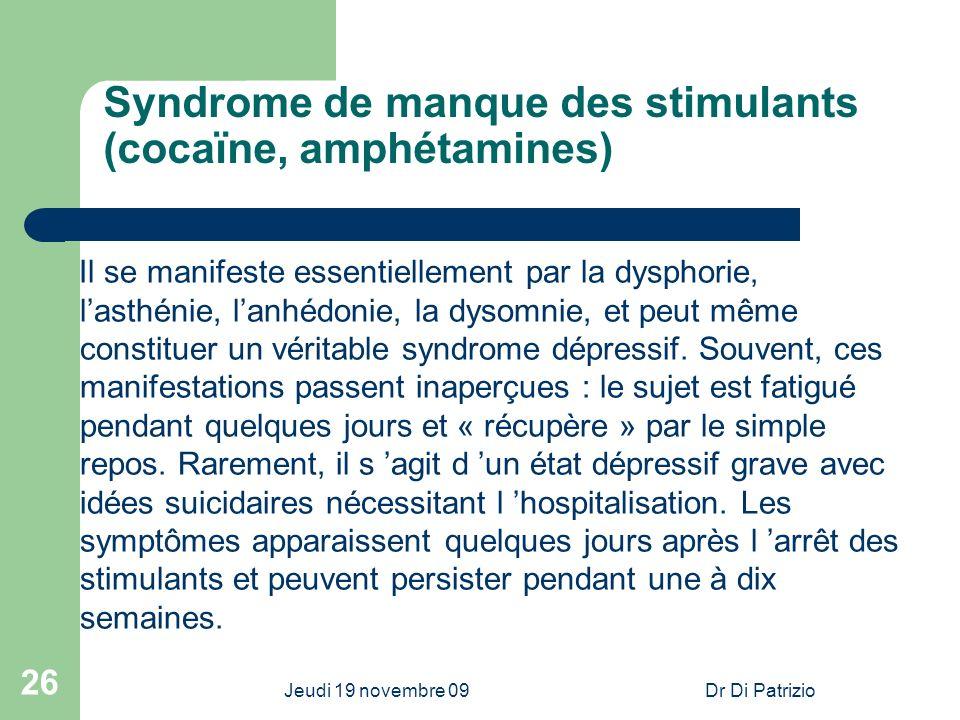 Syndrome de manque des stimulants (cocaïne, amphétamines)