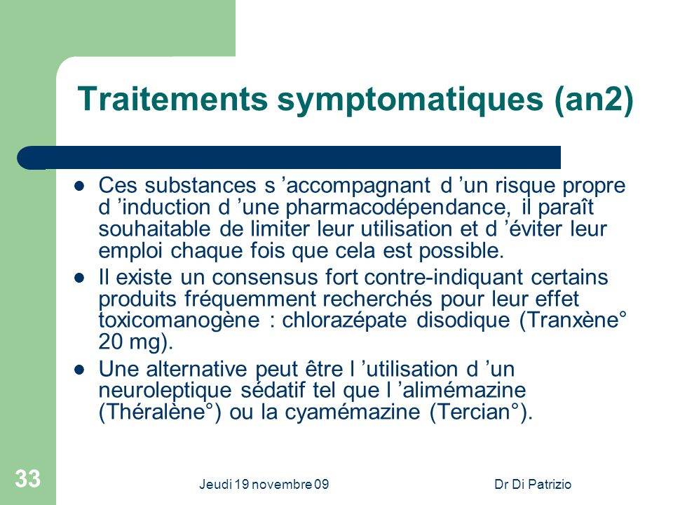 Traitements symptomatiques (an2)