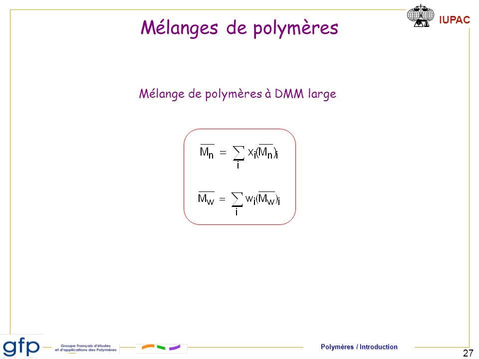 Mélanges de polymères Mélange de polymères à DMM large