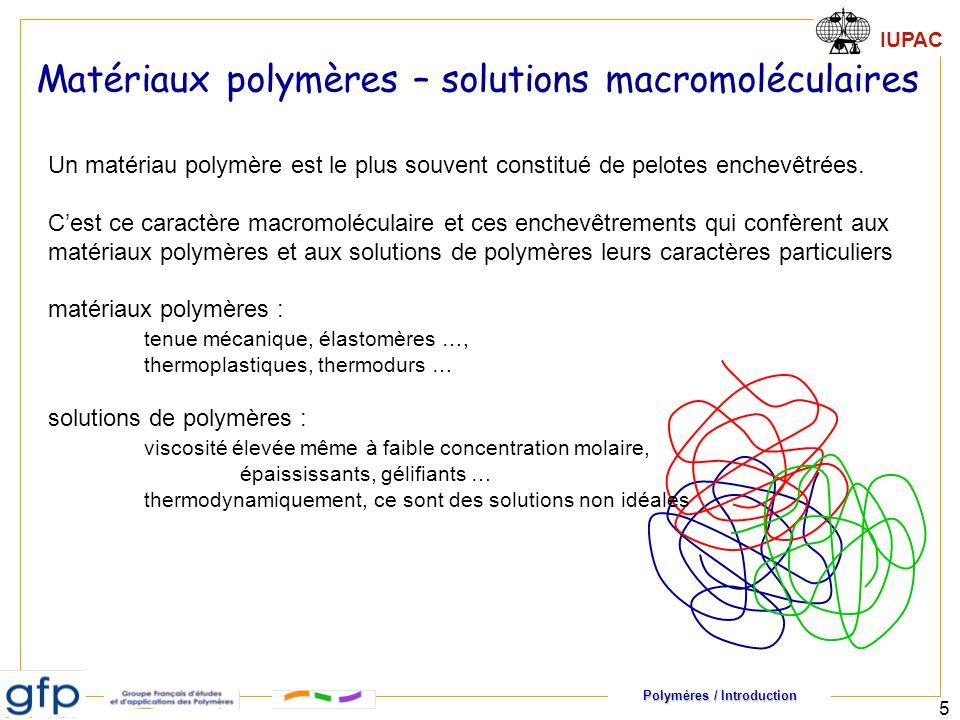 Matériaux polymères – solutions macromoléculaires