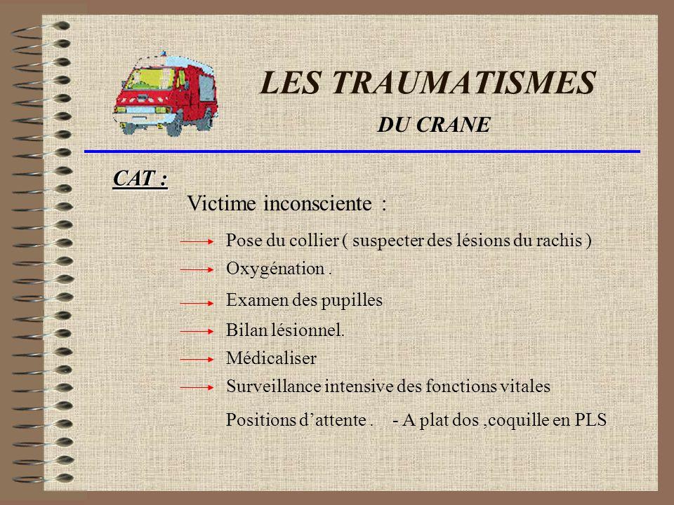 LES TRAUMATISMES DU CRANE CAT : Victime inconsciente :