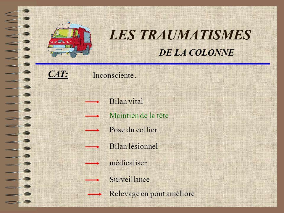 LES TRAUMATISMES DE LA COLONNE CAT: Inconsciente . Bilan vital