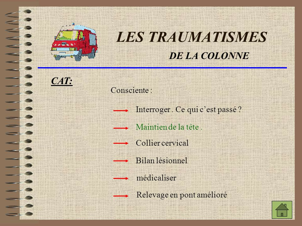 LES TRAUMATISMES DE LA COLONNE CAT: Consciente :