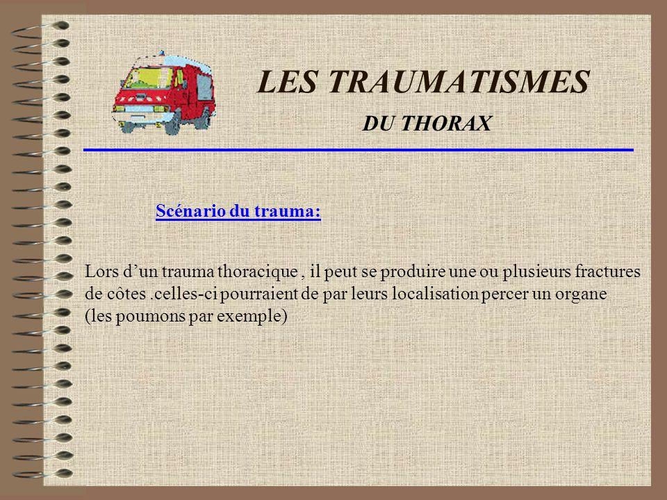 LES TRAUMATISMES DU THORAX Scénario du trauma:
