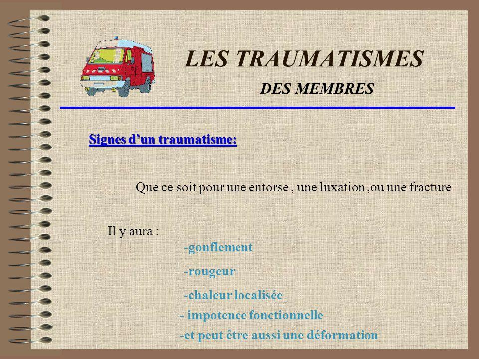 LES TRAUMATISMES DES MEMBRES Signes d'un traumatisme: