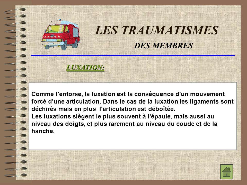 LES TRAUMATISMES DES MEMBRES LUXATION: