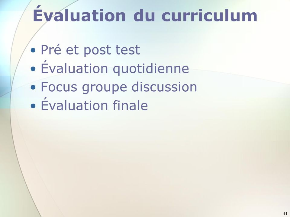 Évaluation du curriculum