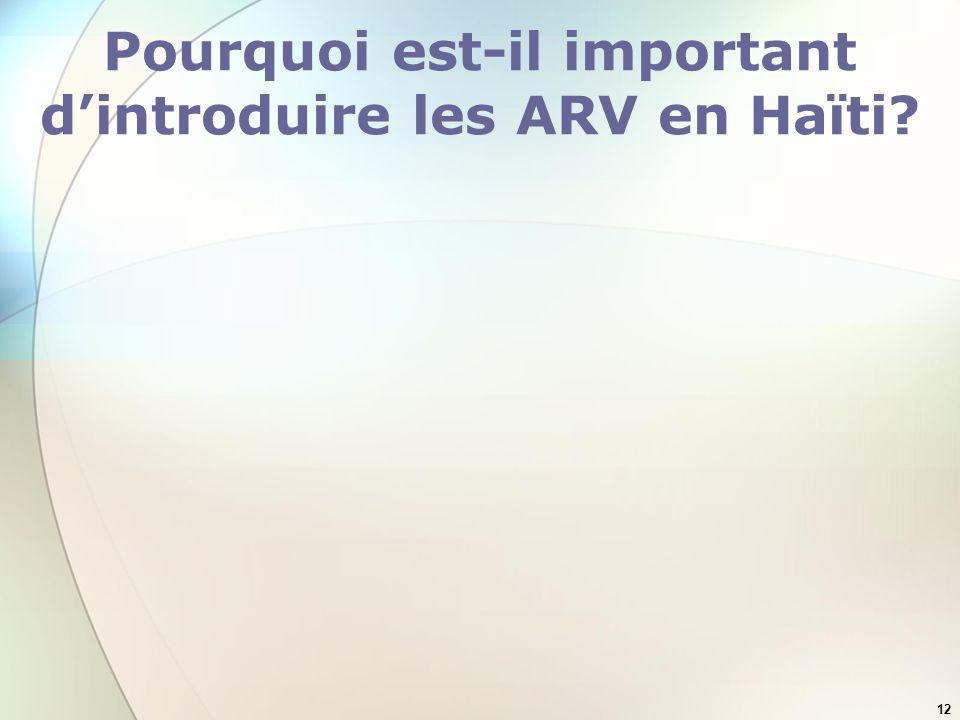 Pourquoi est-il important d'introduire les ARV en Haïti
