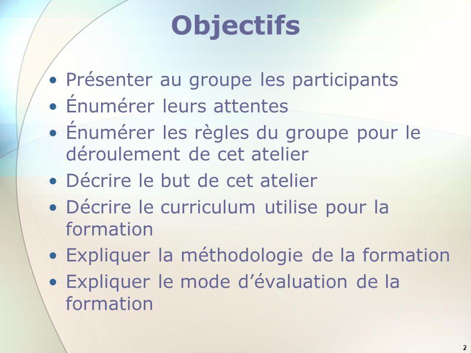 Objectifs Présenter au groupe les participants Énumérer leurs attentes