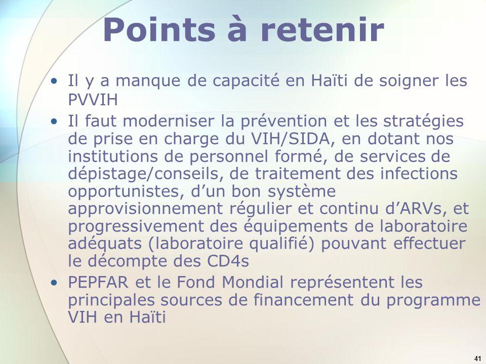Points à retenir Il y a manque de capacité en Haïti de soigner les PVVIH.