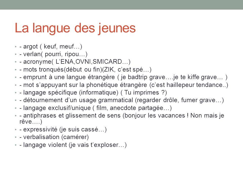 La langue des jeunes - argot ( keuf, meuf…) - verlan( pourri, ripou…)