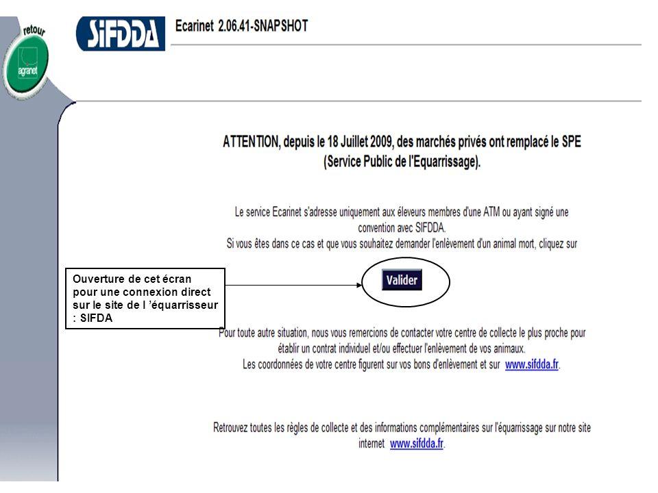 Ouverture de cet écran pour une connexion direct sur le site de l 'équarrisseur : SIFDA