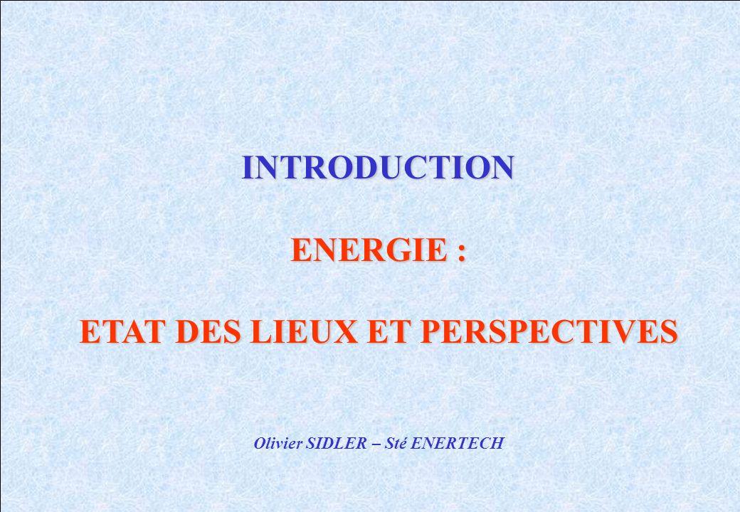 ETAT DES LIEUX ET PERSPECTIVES Olivier SIDLER – Sté ENERTECH