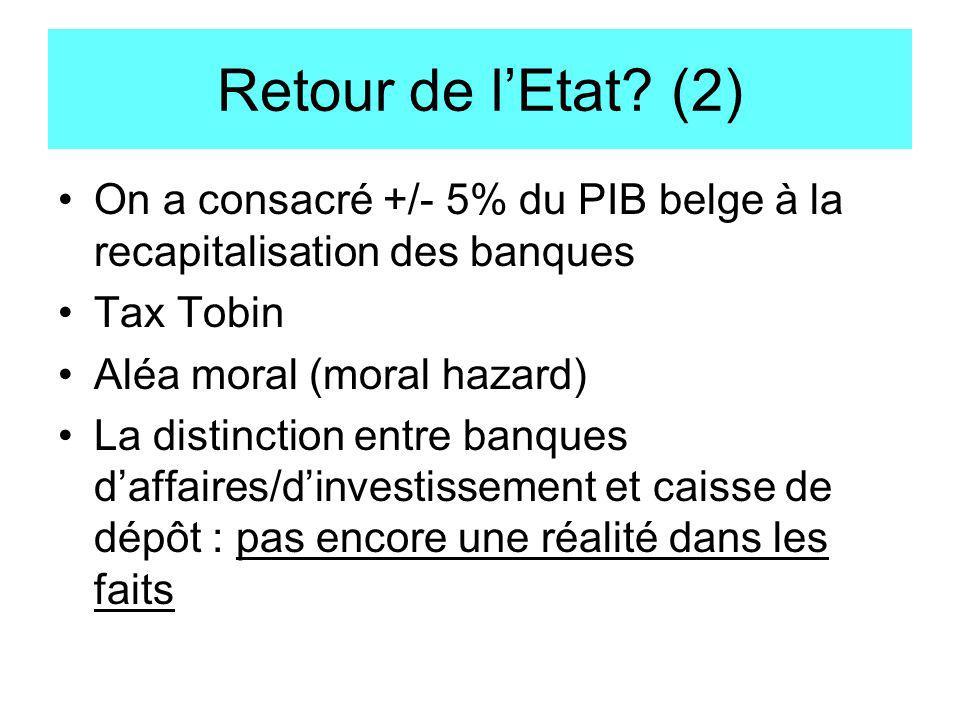 Retour de l'Etat (2) On a consacré +/- 5% du PIB belge à la recapitalisation des banques. Tax Tobin.