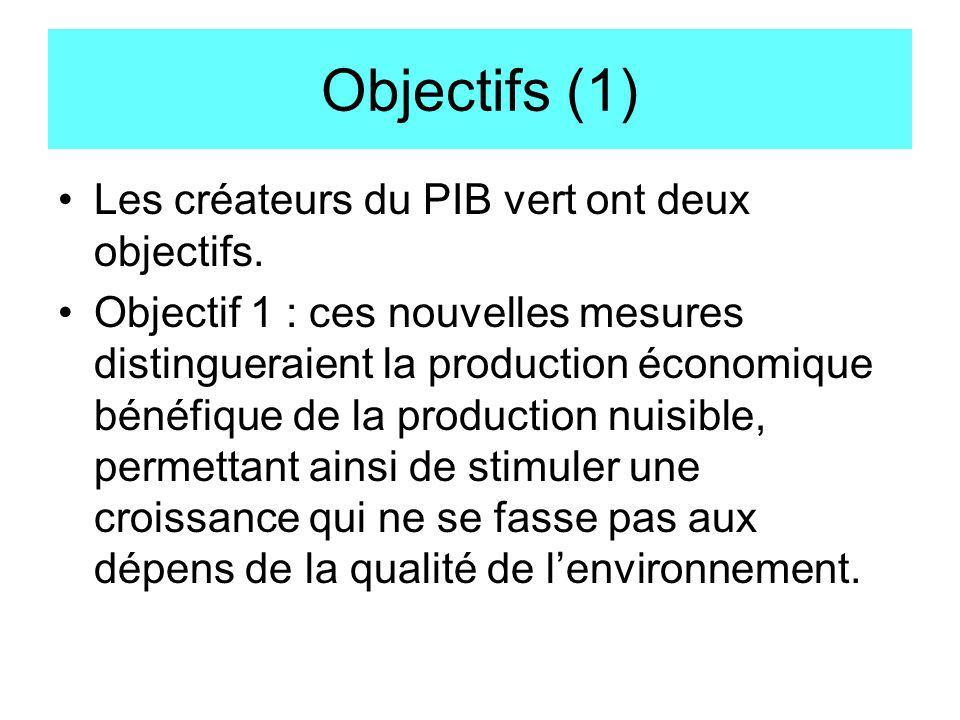 Objectifs (1) Les créateurs du PIB vert ont deux objectifs.