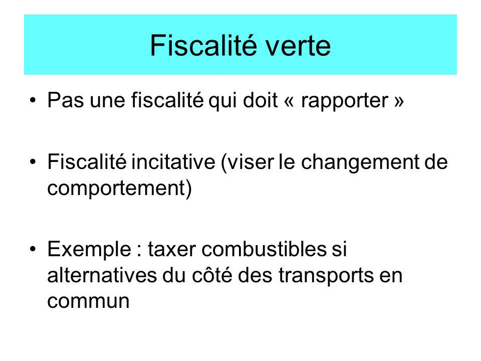 Fiscalité verte Pas une fiscalité qui doit « rapporter »