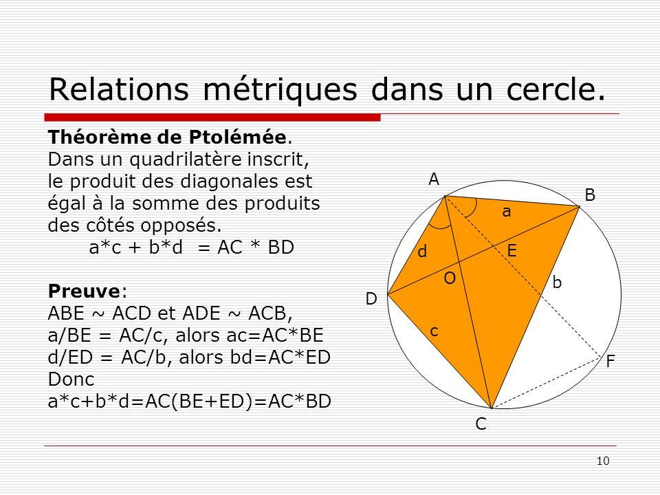 Relations métriques dans un cercle.