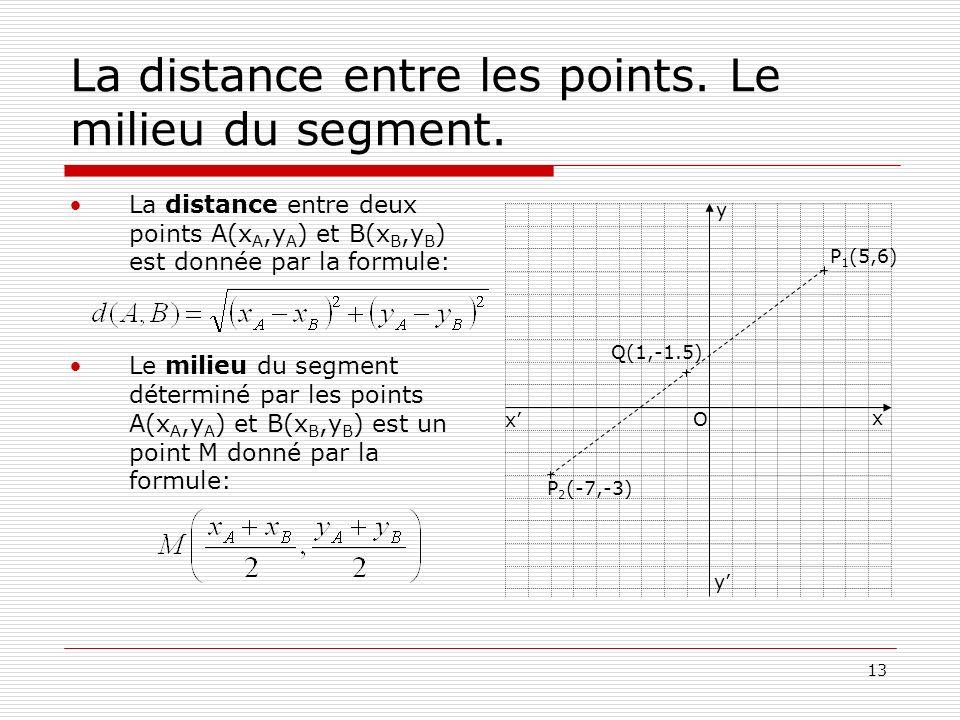 La distance entre les points. Le milieu du segment.