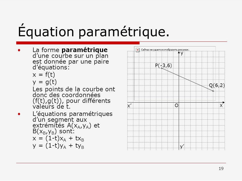 Équation paramétrique.