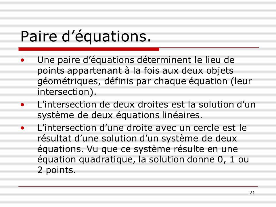 Paire d'équations.