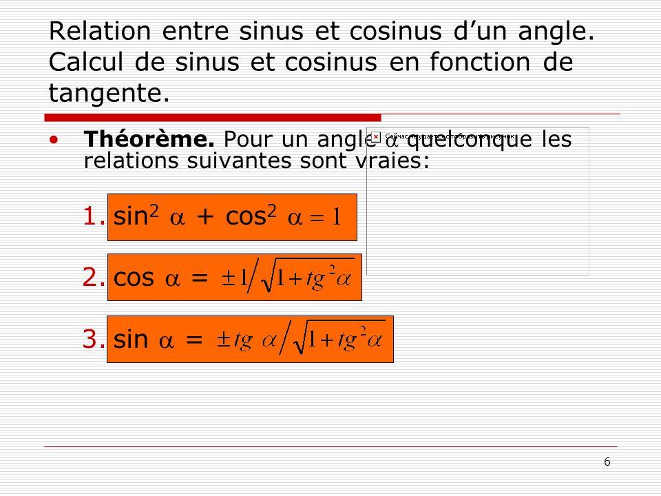 Relation entre sinus et cosinus d'un angle