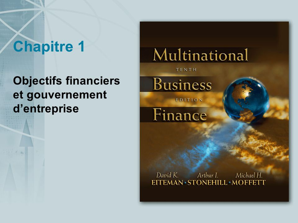 Objectifs financiers et gouvernement d'entreprise