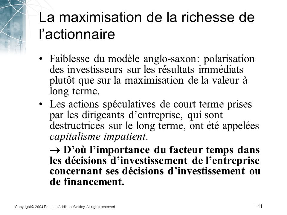 La maximisation de la richesse de l'actionnaire
