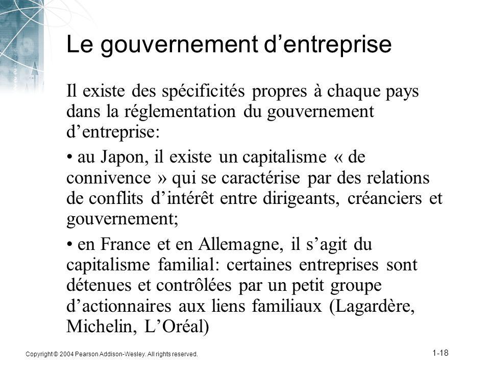 Le gouvernement d'entreprise