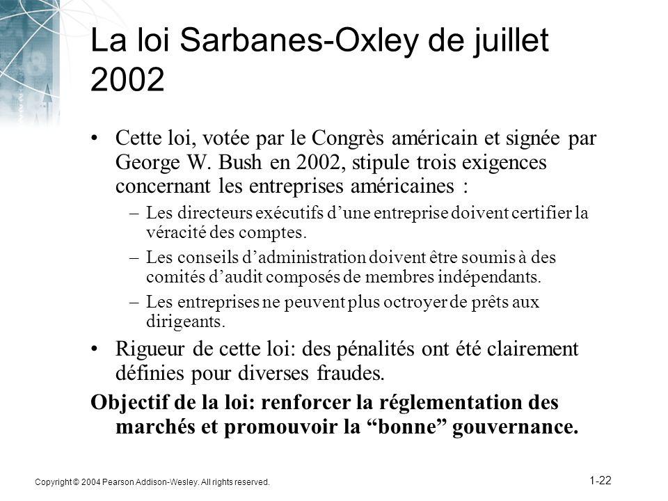 La loi Sarbanes-Oxley de juillet 2002