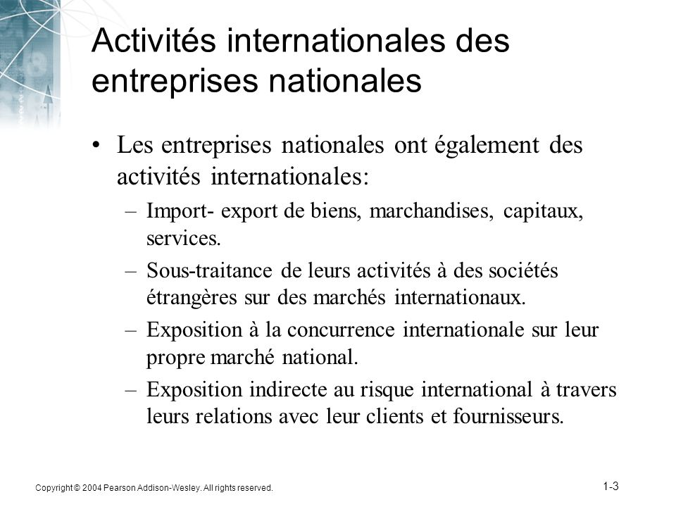 Activités internationales des entreprises nationales