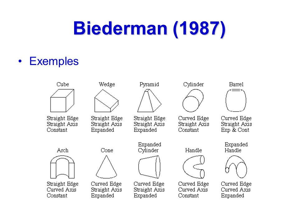 Biederman (1987) Exemples