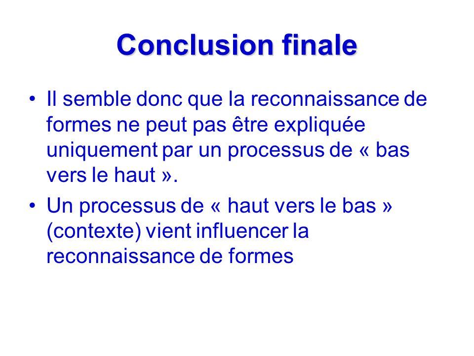 Conclusion finale Il semble donc que la reconnaissance de formes ne peut pas être expliquée uniquement par un processus de « bas vers le haut ».