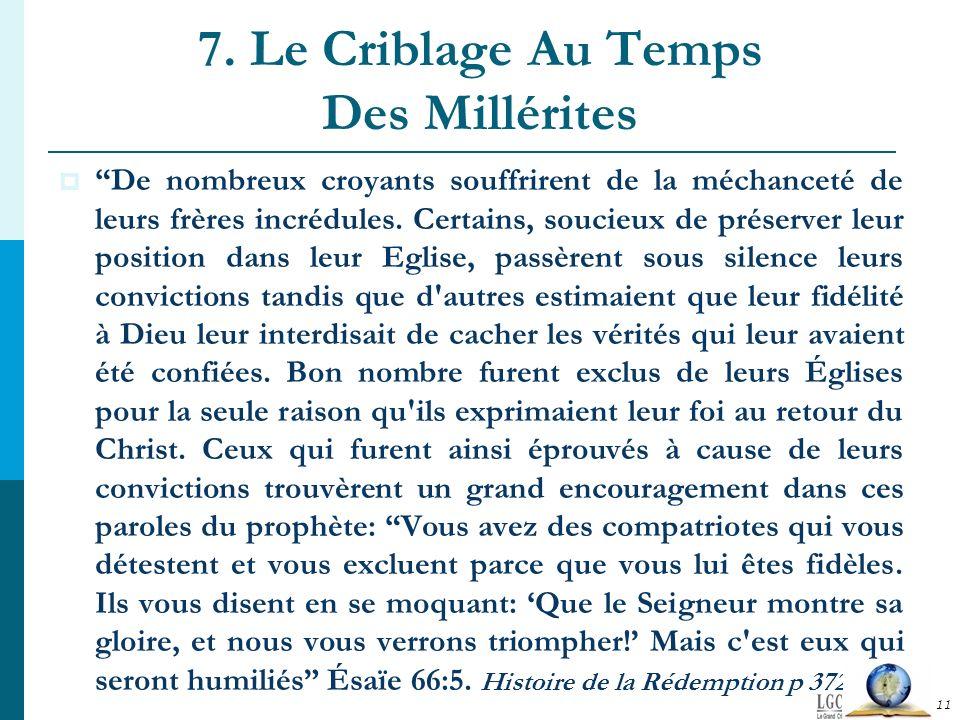 7. Le Criblage Au Temps Des Millérites