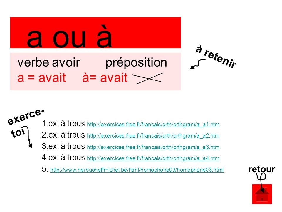a ou à verbe avoir préposition a = avait à= avait