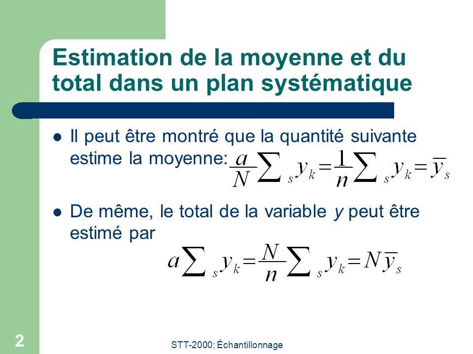 Estimation de la moyenne et du total dans un plan systématique