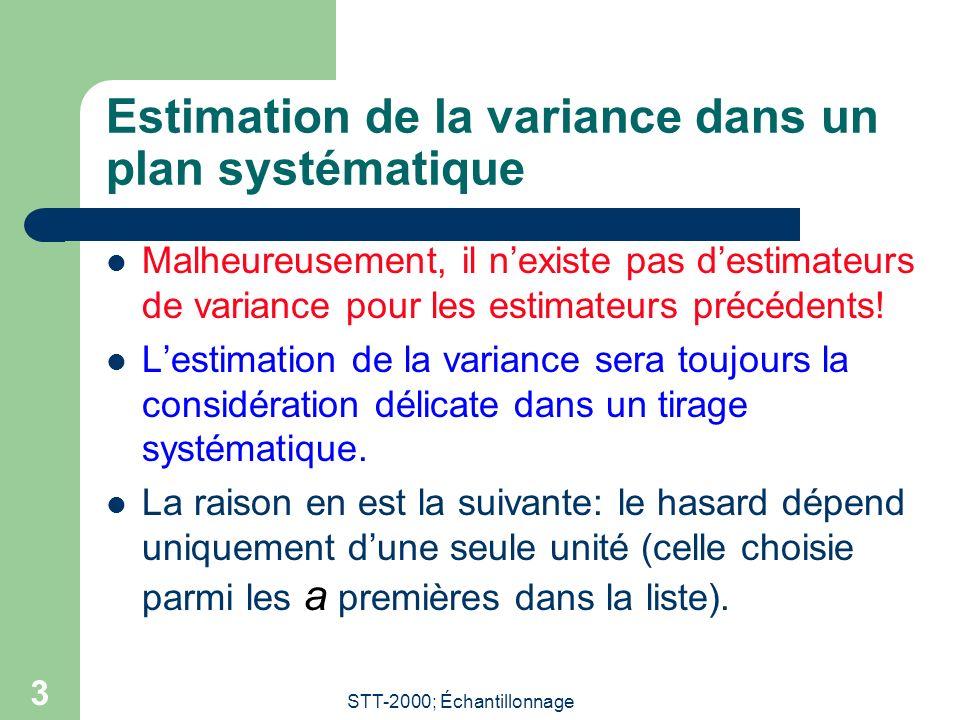 Estimation de la variance dans un plan systématique
