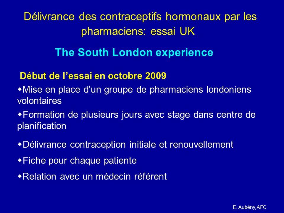 Délivrance des contraceptifs hormonaux par les pharmaciens: essai UK