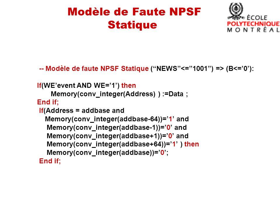 Modèle de Faute NPSF Statique