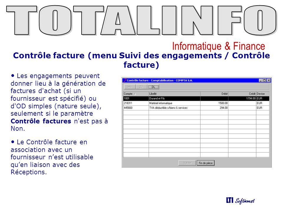 Contrôle facture (menu Suivi des engagements / Contrôle facture)