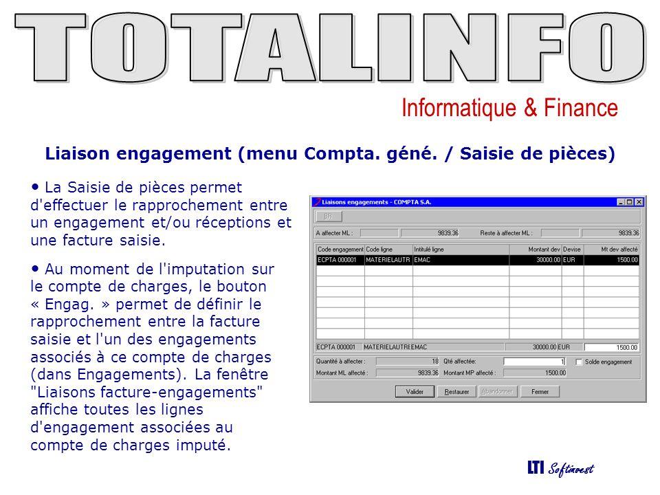 Liaison engagement (menu Compta. géné. / Saisie de pièces)