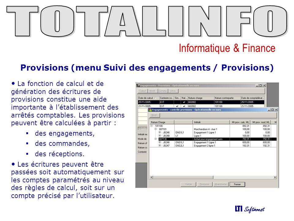 Provisions (menu Suivi des engagements / Provisions)