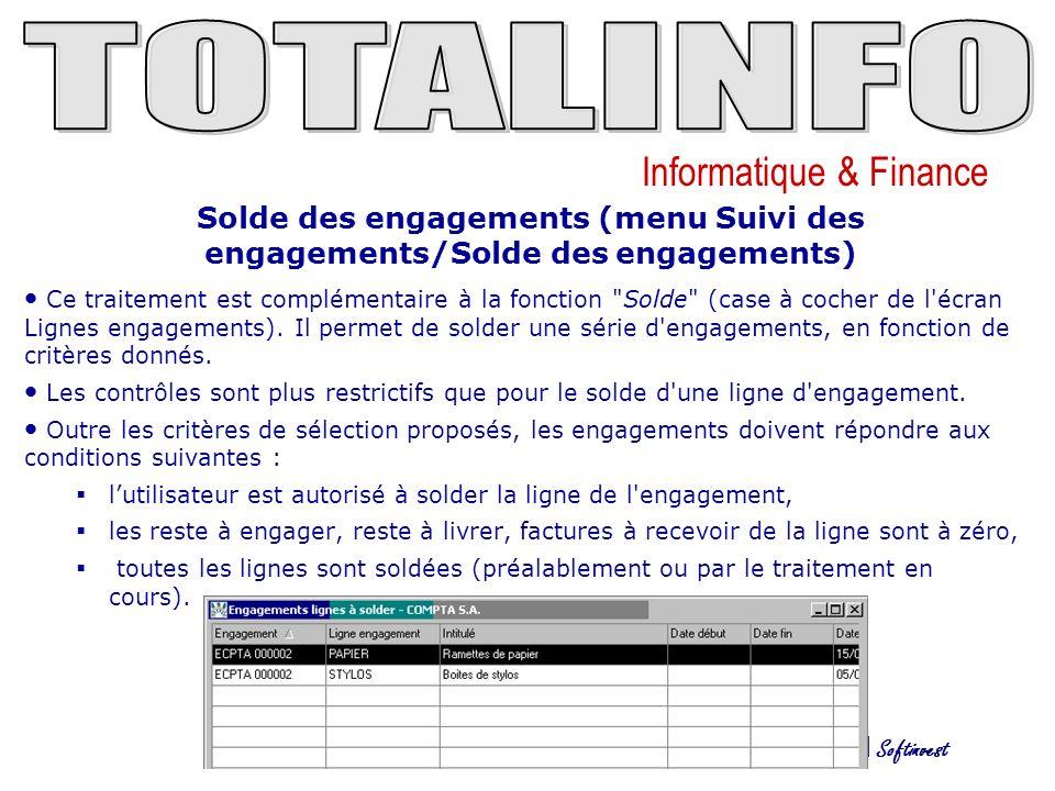 Solde des engagements (menu Suivi des engagements/Solde des engagements)