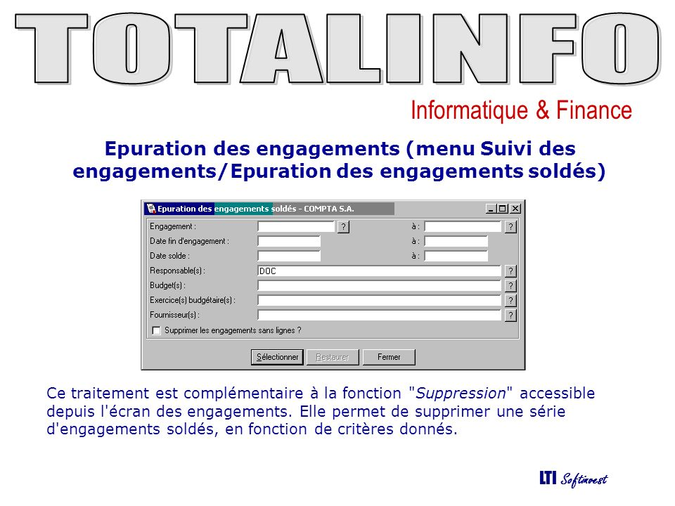 Epuration des engagements (menu Suivi des engagements/Epuration des engagements soldés)