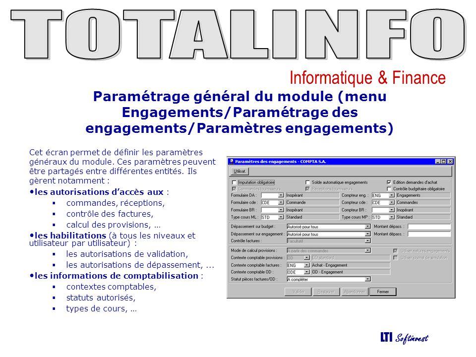 Paramétrage général du module (menu Engagements/Paramétrage des engagements/Paramètres engagements)