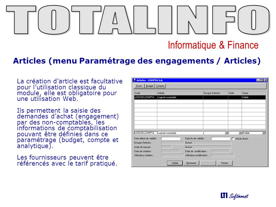 Articles (menu Paramétrage des engagements / Articles)