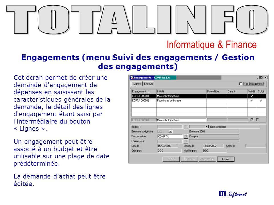 Engagements (menu Suivi des engagements / Gestion des engagements)