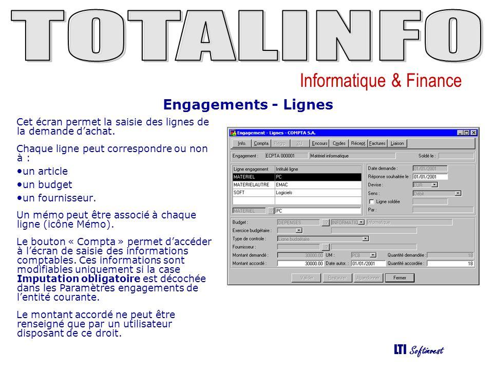 Engagements - Lignes Cet écran permet la saisie des lignes de la demande d'achat. Chaque ligne peut correspondre ou non à :